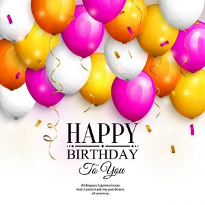 Happy birthday greeting card. Party colorful balloons, gold streamers, confetti and stylish lettering. Vector.,Happy birthday greeting card. Party colorful balloons, gold streamers, confetti and stylish lettering. Vector.