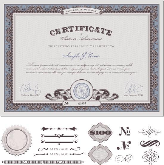 Blank certificates vectors certificate vector template yadclub Gallery