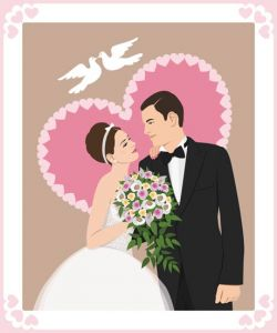 Bride and groom wedding invitation vector