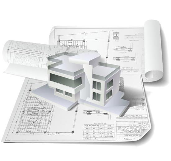 Building plan drawings vector for Construction plan drawing