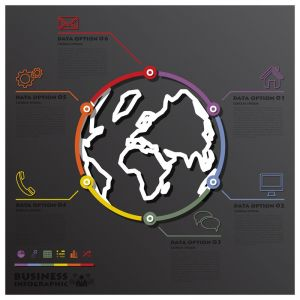 Earth And World Line Circle Shape Business Infographic