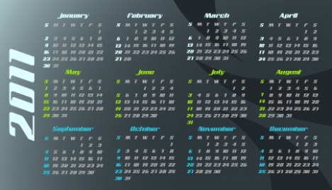Business cards with 2011 calendar on verso