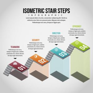 Isometric Stair Steps Infographic