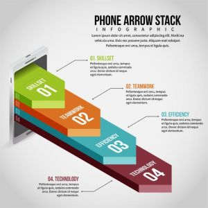 Phone Arrow Stack Infographic