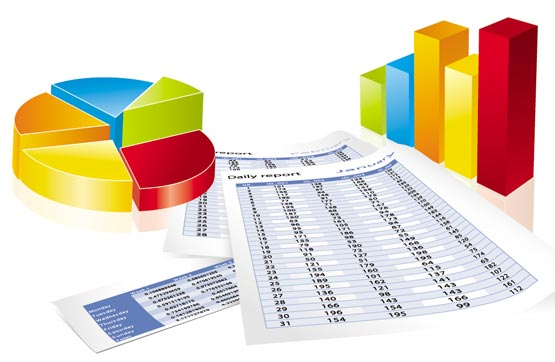 3D business charts vector templates
