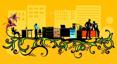 Business city vector template