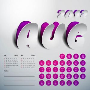 2012 Calendar sticker august vector