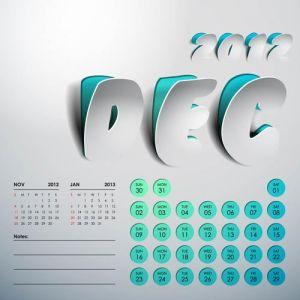 2012 Calendar sticker december vector