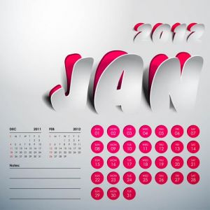 2012 Calendar sticker january vector