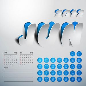 2012 Calendar sticker june vector