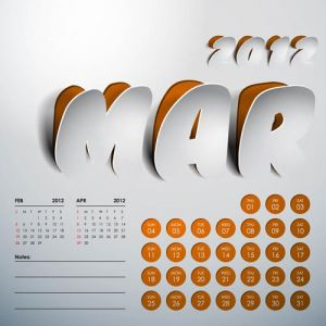 2012 Calendar sticker march vector