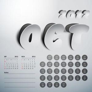 2012 Calendar sticker october vector