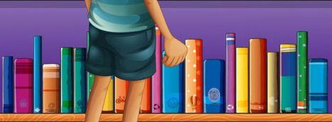 Cartoon boy in front of bookshelves vector