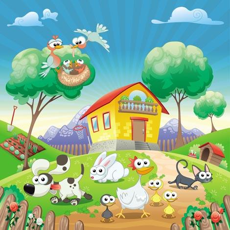 Cartoon farm vectors - Suelos de vinilo infantiles ...