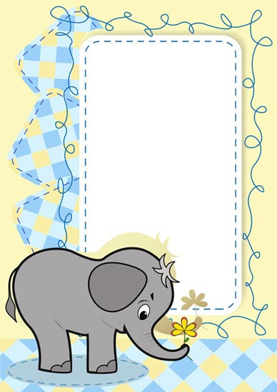 cartoon frame with baby elephant vector - Elephant Picture Frame