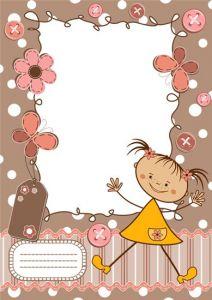 Cartoon frame with baby girl vector