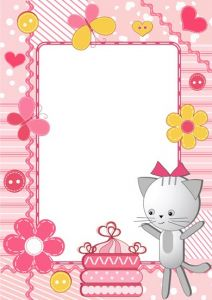Cartoon frame with baby cat vector