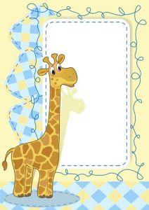 Cartoon frame with baby giraffe vector