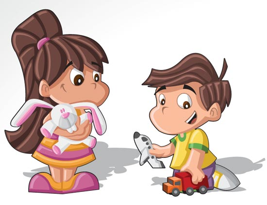 Cartoon Characters For Kids : Cartoon kids and old people character vectors