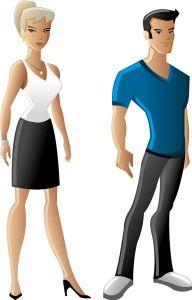 Cartoon people characters vector collar
