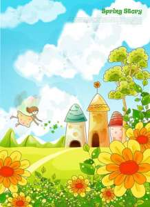 Cartoon spring vector layout