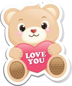 Cartoon teddy bear vector stickers