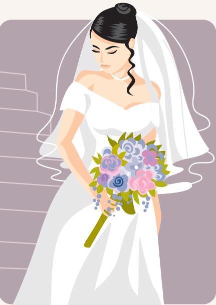 Cartoonish bride and groom vector cards