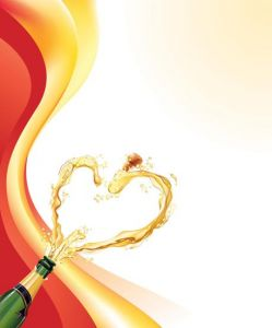 Champagne heart vector design