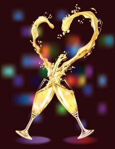 Champagne heart vector template