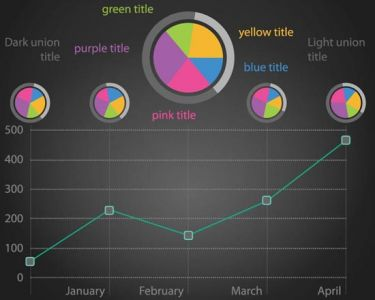 Colored graphs vector template