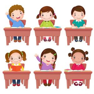 School kids sitting on table