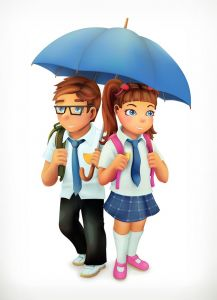 Boy and girl under an umbrella. Pupils cartoon character. Vector icon,Boy and girl under an umbrella. Pupils cartoon character. Vector icon