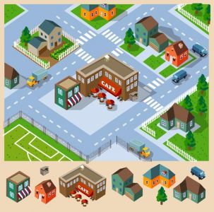Cafe and Neighborhood Isometric vector