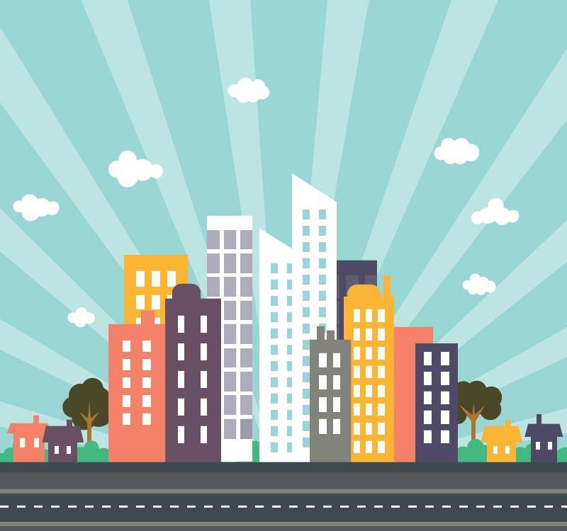 Urban cityscape flat vector design
