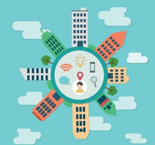 City buildings on circle flat vector design