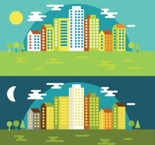 City colored silhouettes vector