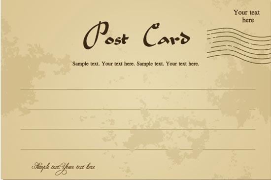 back of postcard template photoshop - classic postcards vectors