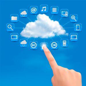 Social media in cloud vector template