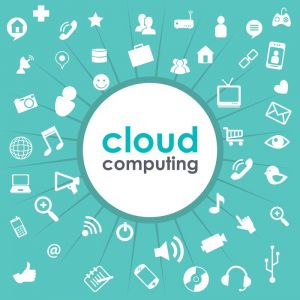 Cloud computing vector template