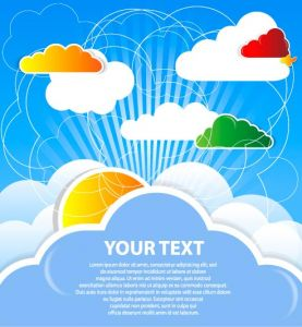 Colored cloud speech buble  vector
