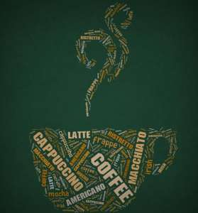 Coffee letters background
