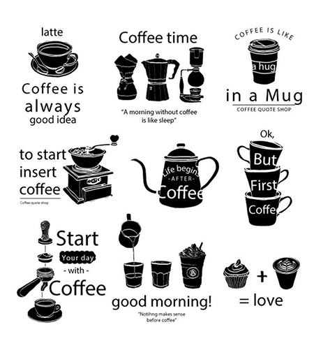 Coffee Quotes Vector Stickers