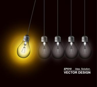 Colored bulbs vector template