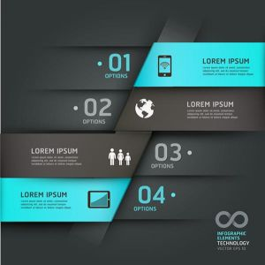 Colored infographics labels and stickers vector
