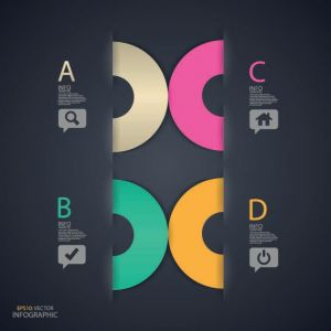 Colored option labels infographics vector
