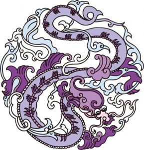 Colored tattoo dragons vectors