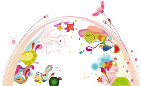 Colorful flower vector layout