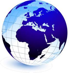 Blue globe in vector format