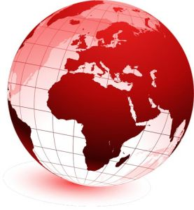 Red globe in vector format