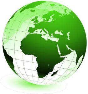 Green globe in vector format